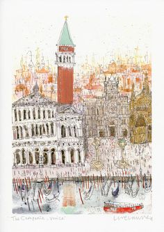 THE CAMPANILE VENICE - Signed Giclée Print from original watercolour painting by Clare Caulfield / Venice Wall Art / Piazza San Marco