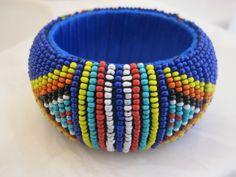 Vintage Huge Zulu Glass Beaded Tribal Hippie Bohemian  Bangle Bracelet. $55.00, via Etsy.