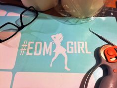 # Hashtag EDM GIRL is part of my new (#) Hashtag series. And when started a new series, how could I not make our EDM Dance Girls one of the first of the new ones? Dance Dance Dance and blast some electronica.     EDM GIRL is:  Cut on 6 year, indoor / outdoor vinyl   Size: 4x8 inches  Colors: White, Black, Pink     If you have any questions feel free to message me and I'll get back as quickly as possible. And remember that I do custom work as well.     Cheers to you!    -Sam Connelly…
