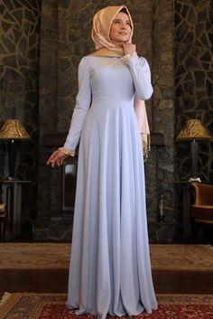 Mevra Buz Mavisi Dantelli Sinetra Elbise