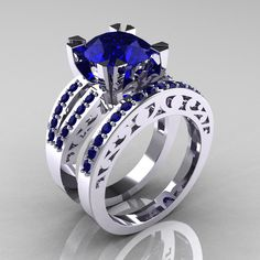 modern vintage 14k white gold 30 carat blue sapphire solitaire and wedding ring set r102s - Sapphire Wedding Ring Sets