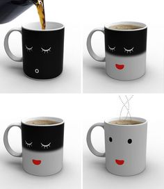 I need this as my coffee cup! Don't know if this is high tech but it sure is cool! As you can see in picture, it changes the face if you pour in hot liquid - 10 most cool gadgets of Take My Money, Ipad Mini, Coffee Cups, Hot Coffee, Drink Coffee, Coffee Milk, Milk Cup, Funny Coffee, Happy Coffee