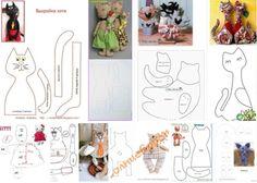 8 moldes para hacer gatos tela Diy Cat Toys, Primitive, Ideas Creativas, Scrappy Quilts, Craft, Ragdoll Cats, Cat Design, Fabric Animals, Cloth Art Dolls