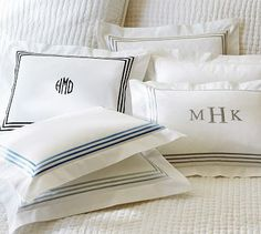 Grand Embroidered 280-Thread-Count Boudoir Pillow Cover #potterybarn  $9.99-419  I like Porcelain blue - $7 or $9 for embroidered monogram; centered on pillow