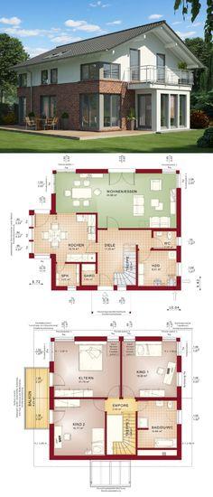 Einfamilienhaus Architektur modern mit Klinker Fassade & Satteldach - Haus bauen Grundriss Fertighaus Evolution 154 V3 Bien Zenker Hausbau Ideen - HausbauDirekt.de