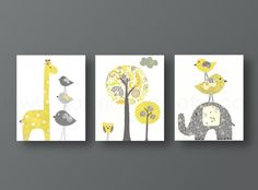 Yellow gray Nursery art baby nursery decor Kids wall art baby boy nursery wall art elephant nursery giraffe nursery bird Set of three prints Elephant Nursery Art, Baby Boy Nursery Decor, Baby Boy Nurseries, Baby Decor, Nursery Themes, Baby Room, Nursery Ideas, Girl Room, Elephant Theme
