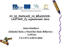 VY_32_INOVACE_10_BĚLKOVICE- LAŠŤANY_Čj-vyjmenovaná slova Alena Kindlová Základní škola a Mateřská škola Bělkovice- Lašťany CZ.1.07/1.4.00/21.0666.