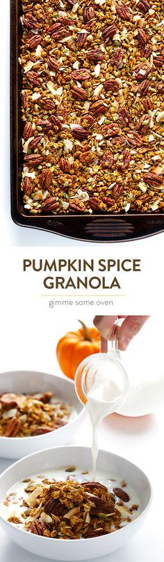 Pumpkin Spice Granola -- naturally sweetened with maple syrup, easy to make, and absolutely delicious! | gimmesomeoven.com