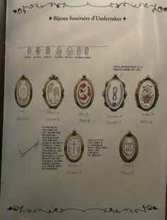 """kuroshitsuji-effervescence: """" Funerals jewels of Undertaker Text above the jewel """" Claudia.P """": It belongs to Ciel's grandmother. Text to the left : From the volume 14, I unified jewels by hanging on..."""