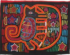"""Moon Dog Mola MA188  black foreground on red  approx 16"""" by 12""""  $40"""