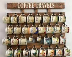 Coffee cup holder coffee cup rack coffee mug rack 40 or 48 Coffee Mug Storage, Coffee Cup Rack, Coffee Mug Display, Coffee Mug Holder, Coffee Carts, Jacobean Stain, Starbucks Coffee, Design Your Own Mug, Coffee Bar Home