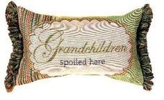 Manual 12.5 x 8.5-Inch Decorative Throw Pillow Grandchildren Spoiled Here