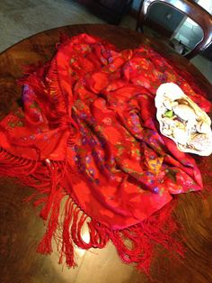 #LAURABIAGIOTTI huge floral red silk shawl