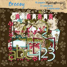 Daisies & Dimples Breezy [Mandogscraps] - This full size kit has flowers, tags, ribbons, mats, 2 alpha sets and more Personal use Please note: some of these items were available in my Breezy PAD in January 2013 so check your stock before purchasing