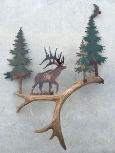 Elk in the Woods, Authentic Antler & Metal Wall Art Rustic Wall Art, Wooden Wall Art, Metal Wall Art, Antler Art, Deer Antler Crafts, Woodland Decor, Stained Glass Designs, Lodge Decor, Deer Antlers