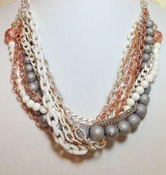 Statement Necklace rose gold pearl wedding bridal by NuSansBijoux, $98.00