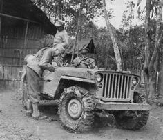 General Stilwell in Burma, circa 1943-1944; note Ford GPW Jeep