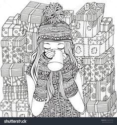 Winter Girl And Cup Of Coffee. Holiday Gifts. Adult Coloring Book Page. Hand-Drawn Vector Illustration. Pattern For Coloring Book. Zentangle. A4 Size Coloring Book Page For Adult And Children. - 516475729 : Shutterstock
