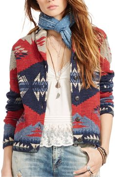 A Southwestern-inspired pattern gives this cardigan a rustic vibe. Bring it on your next camping trip or wear it for chilly walks to class.