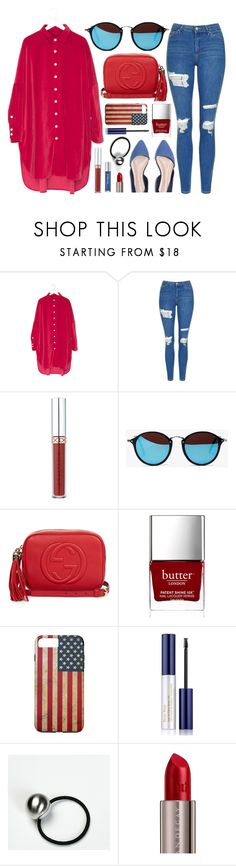 """""""President's Day"""" by genuine-people ❤ liked on Polyvore featuring Topshop, Gucci, Butter London, Estée Lauder, Urban Decay, red, Blue and presidentsday"""