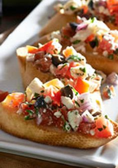 Basil & Tomato-Feta Bruschetta – Got the tomatoes. Got the basil. Check and check. But news flash—we think bruschetta is betta with feta. Check it out this recipe and see if you agree.