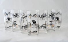 Libbey Rock Sharpe Curio 12 Ounce Tumblers Carriages and