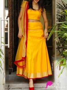 croptop lehenga designs Skirt and Crop Top to ace - croptop Half Saree Designs, Lehenga Designs, Kurta Designs, Blouse Designs, Dress Indian Style, Indian Dresses, Indian Outfits, Stylish Dresses, Women's Fashion Dresses