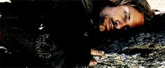 Aragon wakes Gimli up and then lays on the ground listening till dawn. Poor Gimli.