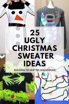 Ugly Christmas Sweater Ideas - Reasons To Skip The Housework Ugly Christmas Sweater Ideas: If you are attending an ugly Christmas sweater party this year, we have got you covered! Here are 25 Ugly Christmas Sweater Ideas for you to use as inspiration. Homemade Ugly Christmas Sweater, Diy Ugly Christmas Sweater, Ugly Sweater Party, Xmas Sweaters, Ugly Sweaters Diy, Ugly Sweater For Kids, Christmas Jumpers, Christmas Fashion, Christmas Crafts