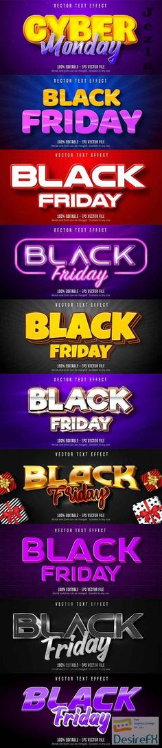 Editable font effect text collection illustration design 205 - Black Friday Text Eps Vector, Vector Stock, Sale Banner, Text Effects, Layout Design, Cyber, Black Friday, Illustration, Graphics