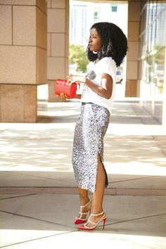 Style Pantry | Graphic Tee + Sequin Midi Skirt
