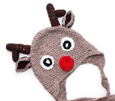 SALE Crochet Christmas Baby Boy Reindeer Hat by KristiTreasures