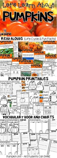 PUMPKINS literacy & science activities! This pack has everything you need for a pumpkin unit. Read alouds, writing pages, pumpkin cookie recipe, observation activity, class survey, and MORE!