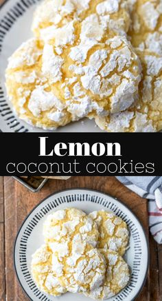 Lemon Coconut Cookies are soft lemon cookies that are made with coconut oil and shredded coconut for a refreshing one-bowl cookie recipe. Coconut Biscuits, Coconut Cookies, Lemon Cookies, Yummy Cookies, Coconut Cookie Recipe, Healthy Cookies, Coconut Recipes, Lemon Recipes, Sweet Recipes