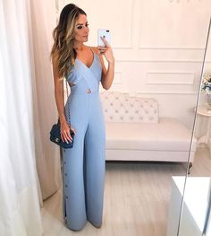 Buy Crisscross Spaghetti Strap Button Slit Side Jumpsuit in the online store - TopTrendBrand Mode Outfits, Casual Outfits, Summer Outfits, Fashion Outfits, Blue Jumpsuits, Jumpsuits For Women, Fashion Jumpsuits, Trend Fashion, Look Fashion
