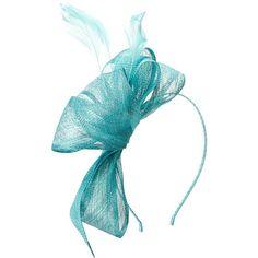 SCALA Sinamay Fascinator Headband (Turquoise) Headband ($26) ❤ liked on Polyvore featuring accessories, hair accessories, head wrap headband, fascinator headband hat, feather fascinator, hair band accessories and fascinator headband