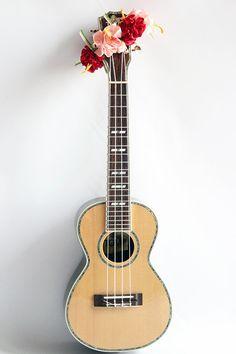 Ribbon lei for ukulele / pink&red hibiscus /ukulele gift / ukulele item / ukulele accessories /