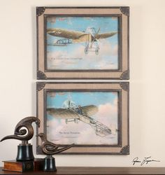 Study Of Early Airplanes Framed Art, S/2 : 9LUTY | Garbe'sThese oil reproductions feature a sand texture finish. Center section of frames have a burlap fabric panel with inner and outer edges featuring a distressed brown, faux leather look with a heavy taupe glaze. Corners are accented with brass nail heads. Designer: Grace Feyock  Dimensions: 30 W X 24 H X 2 D (in)  www.garbes.com
