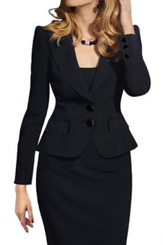 #Womens #Slimming #Long #Sleeve 3 Pieces #Skirt #Suit #Black