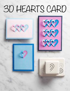"3-D Hearts Card | Martha Stewart Living - ""Two hearts -- yours and mine -- are forever entwined."" It's a sweet sentiment and the inspiration for this easy-to-make pop-up card. Use double-sided cardstock to really make the paper-punched design pop."