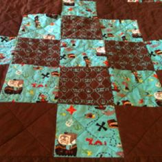The back of Ryan's Pirate Rag Quilt.