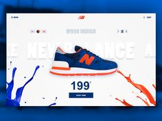 New Balance Sneakers Web Design: This webpage illustrates somewhat of a radial balance because the paint splatters are radiating towards the center making the shoe the focal point. However, the viewer can also see a symmetrical balance because the paint splatters on both sides have equal weight while the shoe provides the central axis.