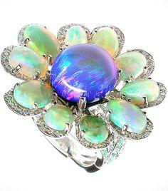 Mathon les florales ring / White gold / diamonds, Black opal, White opals, Paraiba tourmalines and sapphires