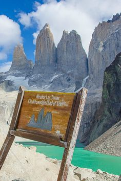The Towers viewpoint (Mirador Las Torres), in Torres del Paine National Park - Chile, Patagonia .**