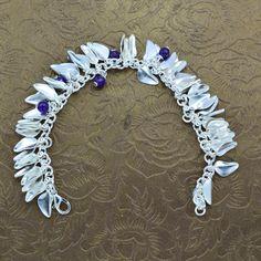 Handmade Bead bracelet Silver plated copper Amethyst Bead & Silver Bead bracelet #Handmade #Bangle