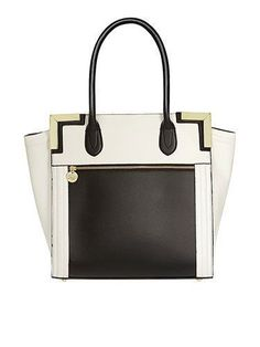 bc36051e95f Black and white wing zip tote - Dorothy Perkins