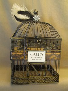 Art Deco Wedding Card Box Bird Cage / Bling / Feathers / Lace / Birdcage Wedding Card Holder