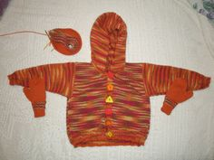 A cardigan, mittens and hat (still in progress) for my niece B's birthday. She loves orange! 2nd Birthday, Mittens, Charity, Dinosaur Stuffed Animal, Orange, Knitting, Hats, Animals, Fingerless Mitts