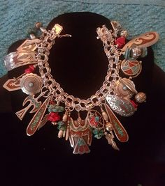 Native American Old/Dead Pawn Peyote Turquoise Coral Sterling Charm Bracelet | eBay