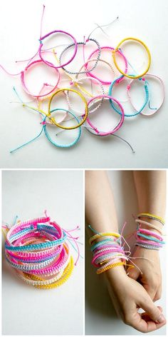 DIY 2 Easy Friendship Bracelet Tutorials Just Out from The Purl Bee. There is the one sided wrap and the double sided wrap, both with an adjustable closure. For one of the best DIY Friendship Bracelet Archives go here: truebluemeandyou.tumblr.com/tagged/friendship Below is a Roundup of 18 Friendship Bracelet Tutorials I posted including a site with hundreds of patterns for bracelets (#9 Bottom Photo).